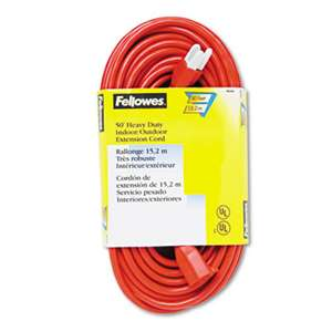 FELLOWES MFG. CO. Indoor/Outdoor Heavy-Duty 3-Prong Plug Extension Cord, 1-Outlet, 50ft, Orange