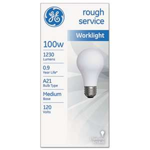 GENERAL ELECTRIC CO. Rough Service Incandescent Worklight Bulb, A21, 100 W, 1230 lm