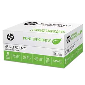 HEWLETT PACKARD COMPANY EcoFFICIENT Paper, 92 Brightness, 16lb, 8 1/2 x 11, White, 5000 Sheets/Carton