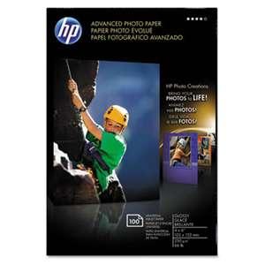 HEWLETT PACKARD COMPANY Advanced Photo Paper, 56 lbs., Glossy, 4 x 6, 100 Sheets/Pack
