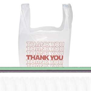 "INTEGRATED BAGGING SYSTEMS ""Thank You"" Handled T-Shirt Bags, 11 1/2 x 21, Polyethylene, White, 900/Carton"
