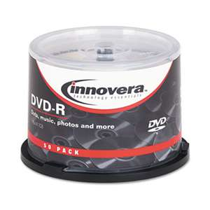 INNOVERA DVD-R Discs, 4.7GB, 16x, Spindle, Silver, 50/Pack