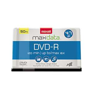 MAXELL CORP. OF AMERICA DVD-R Discs, 4.7GB, 16x, Spindle, Gold, 50/Pack