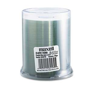 MAXELL CORP. OF AMERICA CD-R Discs, 700MB/80 min, 48x, Spindle, Printable Matte White, 100/Pack