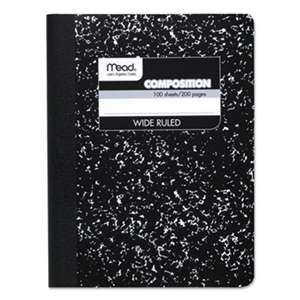 MEAD PRODUCTS Composition Book, Wide Rule, 9 3/4 x 7 1/2, White, 100 Sheets