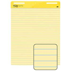 3M/COMMERCIAL TAPE DIV. Self Stick Easel Pads, Ruled, 25 x 30, Yellow, 2 30 Sheet Pads/Carton