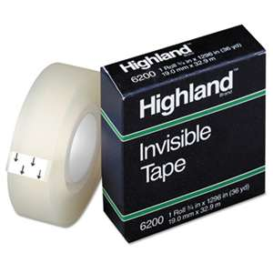 "3M/COMMERCIAL TAPE DIV. Invisible Permanent Mending Tape, 3/4"" x 1296"", 1"" Core, Clear"