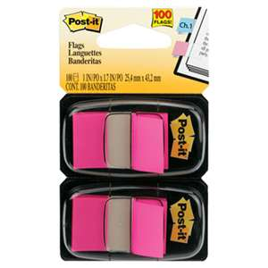 3M/COMMERCIAL TAPE DIV. Standard Page Flags in Dispenser, Bright Pink, 100 Flags/Dispenser