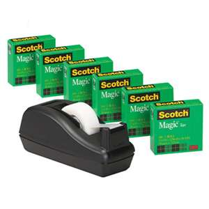 "3M/COMMERCIAL TAPE DIV. Magic Tape Value Pack w/C40 Dispenser, 3/4"" x 1000"", 1"" Core, Clear, 6/Pack"