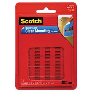 "3M/COMMERCIAL TAPE DIV. Mounting Squares, Precut, Removable, 11/16"" x 11/16"", Clear, 35/Pack"