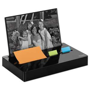 "3M/COMMERCIAL TAPE DIV. Pop-up Note/Flag Dispenser Plus Photo Frame with 3 x 3 Pad, 50 1"" Flags, Black"