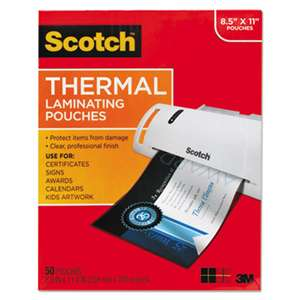 3M/COMMERCIAL TAPE DIV. Letter Size Thermal Laminating Pouches, 3 mil, 11 1/2 x 9, 50/Pack