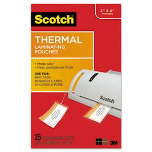 3M/COMMERCIAL TAPE DIV. Luggage Tag Size Thermal Laminating Pouches, 5 mil, 4 1/5 x 2 1/2, 25/Pack
