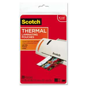 3M/COMMERCIAL TAPE DIV. Photo Size Thermal Laminating Pouches, 5 mil, 6 x 4, 20/Pack