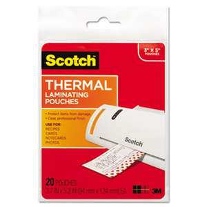 3M/COMMERCIAL TAPE DIV. Index Card Size Thermal Laminating Pouches, 5 mil, 5 3/8 x 3 3/4, 20/Pack