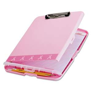 "OFFICEMATE INTERNATIONAL CORP. Breast Cancer Awareness Clipboard Box, 3/4"" Capacity, 8 1/2 x 11, Pink"