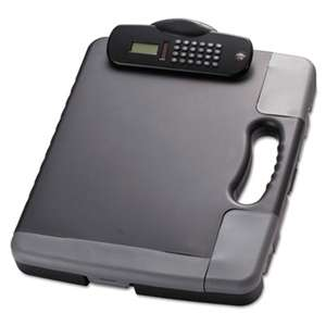 OFFICEMATE INTERNATIONAL CORP. Portable Storage Clipboard Case w/Calculator, 11 3/4 x 14 1/2, Charcoal