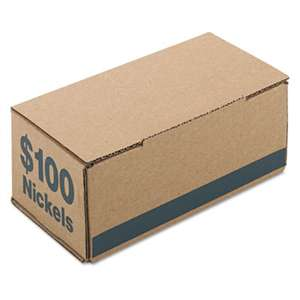 PM COMPANY Corrugated Cardboard Coin Storage w/Denomination Printed On Side, Blue
