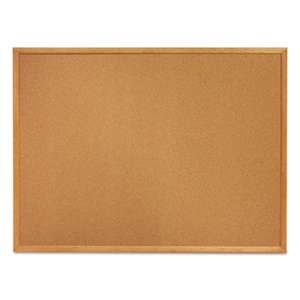 QUARTET MFG. Classic Cork Bulletin Board, 24 x 18, Oak Finish Frame
