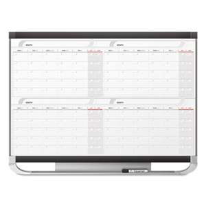 QUARTET MFG. Prestige 2 Total Erase 4-Month Calendar, 48 x 36, Graphite Color Frame