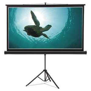 QUARTET MFG. Wide Format Tripod Base Projection Screen, 52 x 92, White