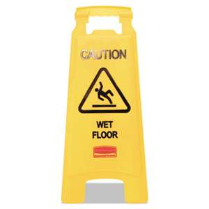 RUBBERMAID COMMERCIAL PROD. Caution Wet Floor Floor Sign, Plastic, 11 X 1 1/2 X 26, Bright Yellow