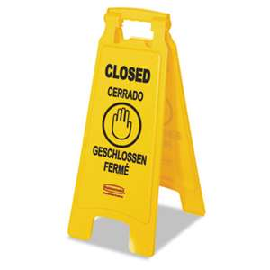 "RUBBERMAID COMMERCIAL PROD. Multilingual ""Closed"" Sign, 2-Sided, Plastic, 11w x 1.5d x 26h, Yellow"