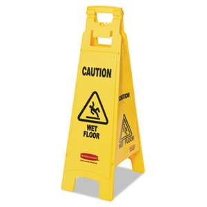 RUBBERMAID COMMERCIAL PROD. Caution Wet Floor Floor Sign, 4-Sided, Plastic, 12 x 16 x 38, Yellow