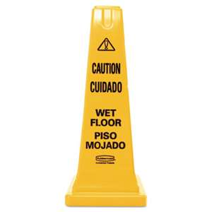 RUBBERMAID COMMERCIAL PROD. Four-Sided Caution, Wet Floor Safety Cone, 10 1/2w x 10 1/2d x 25 5/8h, Yellow