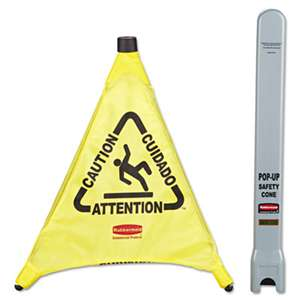 "RUBBERMAID COMMERCIAL PROD. Multilingual ""Caution"" Pop-Up Safety Cone, 3-Sided, Fabric, 21 x 21 x 20, Yellow"