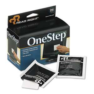 Read Right RR1209 OneStep Screen Cleaner, 5 x 5, 24/Box