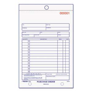 REDIFORM OFFICE PRODUCTS Purchase Order Book, Bottom Punch, 5 1/2 x 7 7/8, 3-Part Carbonless, 50 Forms