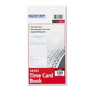 REDIFORM OFFICE PRODUCTS Employee Time Card, Semi-Monthly, 4-1/4 x 8, 100/Pad