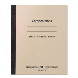 ROARING SPRING PAPER PRODUCTS Stitched Composition Book, Legal Rule, 8 1/2 x 7, WE, 20 Sheets