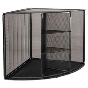 ROLODEX Mesh Corner Desktop Shelf, Five Sections, 20 x 14 x 13, Black