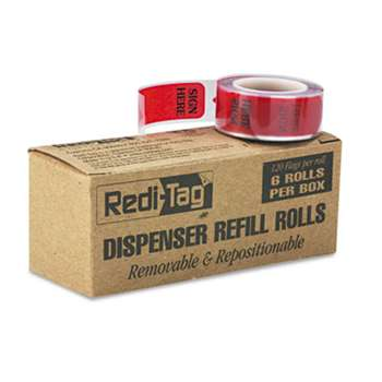 "REDI-TAG CORPORATION Arrow Message Page Flag Refills, ""Sign Here"", 6 Rolls of 120 Flags/Box"