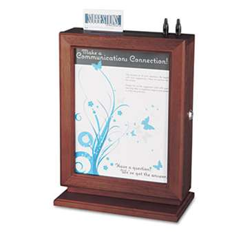 SAFCO PRODUCTS Customizable Wood Suggestion Box, 10 1/2 x 5 3/4 x 14 1/2, Mahogany