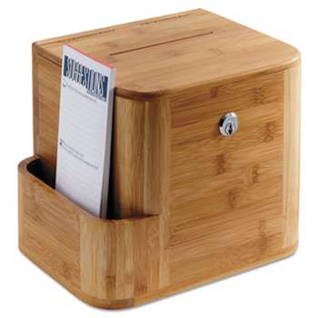 SAFCO PRODUCTS Bamboo Suggestion Box, 10 x 8 x 14, Natural