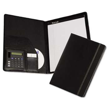 SAMSILL CORPORATION Slimline Padfolio, Leather-Look/Faux Reptile Trim, Writing Pad, Black