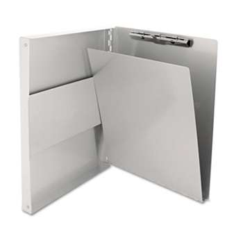 "SAUNDERS MFG. CO., INC. Snapak Aluminum Side-Open Forms Folder, 1/2"" Clip, 8 1/2 x 12 Sheets, Silver"