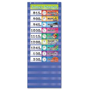 SCHOLASTIC INC. Daily Schedule Pocket Chart, 13 x 33, Blue/Clear