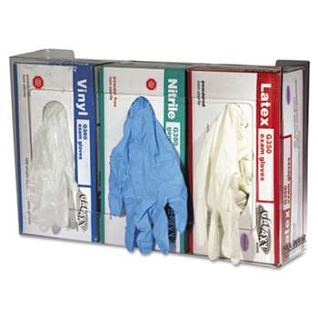 THE COLMAN GROUP, INC Clear Plexiglas Disposable Glove Dispenser, Three-Box, 18w x 3 3/4d x 10h
