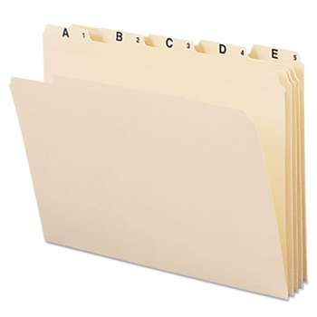 SMEAD MANUFACTURING CO. Indexed File Folders, 1/5 Cut, Indexed A-Z, Top Tab, Letter, Manila, 25/Set