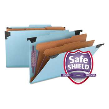 SMEAD MANUFACTURING CO. Six Section Hanging Classification Folder, Pressboard/Kraft, Legal, Blue