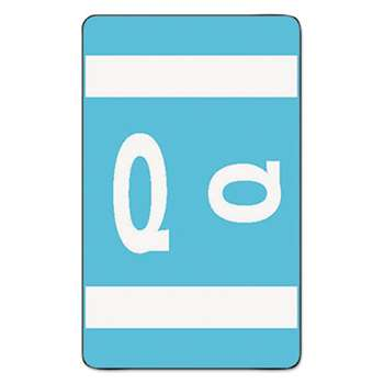 SMEAD MANUFACTURING CO. Alpha-Z Color-Coded Second Letter Labels, Letter Q, Light Blue, 100/Pack