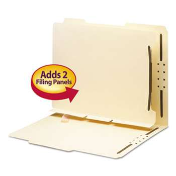 SMEAD MANUFACTURING CO. Manila Self-Adhesive Folder Dividers w/2-Prong Fastener, 2-Sect, Letter, 25/Pack