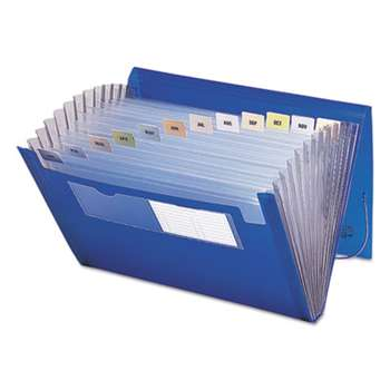 SMEAD MANUFACTURING CO. Expanding File, 12 Pockets, Letter, Blue/Clear