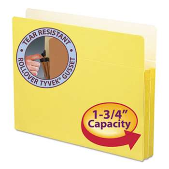 "SMEAD MANUFACTURING CO. 1 3/4"" Exp Colored File Pocket, Straight Tab, Letter, Yellow"