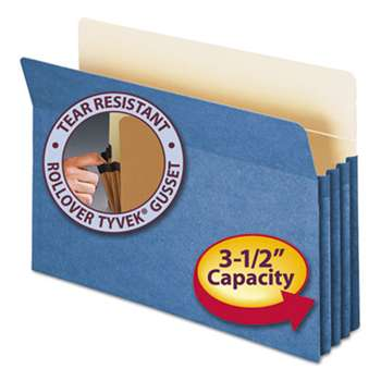 "SMEAD MANUFACTURING CO. 3 1/2"" Exp Colored File Pocket, Straight Tab, Legal, Blue"