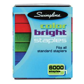 ACCO BRANDS, INC. Color Bright Staples, Assorted Colors, Blue, Red, Green, 6000/Pack